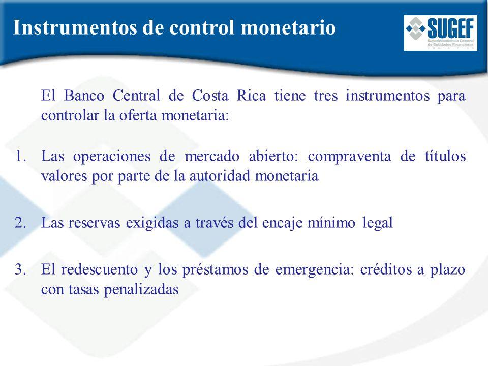 El Banco Central de Costa Rica tiene tres instrumentos para controlar la oferta monetaria: 1.Las operaciones de mercado abierto: compraventa de título