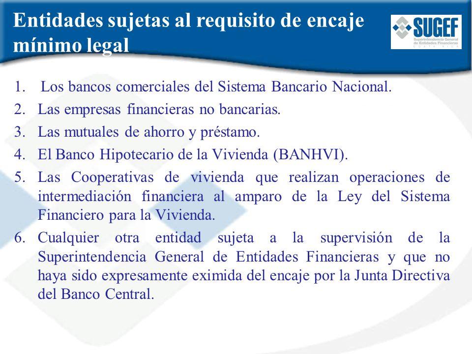 Entidades sujetas al requisito de encaje mínimo legal 1.Los bancos comerciales del Sistema Bancario Nacional. 2.Las empresas financieras no bancarias.
