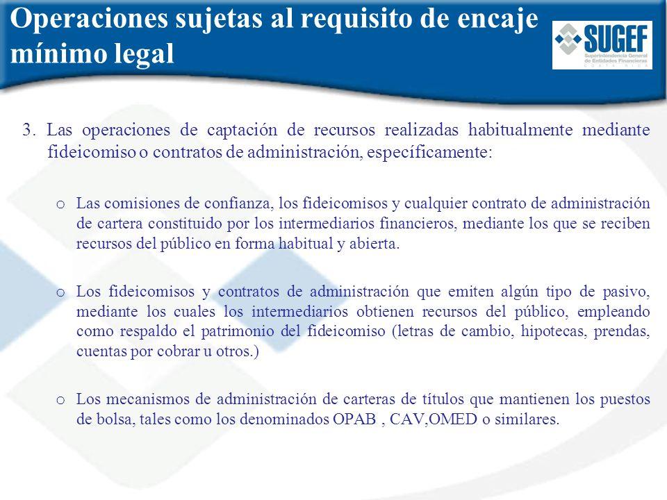 Operaciones sujetas al requisito de encaje mínimo legal 3. Las operaciones de captación de recursos realizadas habitualmente mediante fideicomiso o co