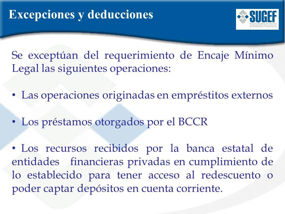Excepciones y deducciones Se exceptúan del requerimiento de Encaje Mínimo Legal las siguientes operaciones: Las operaciones originadas en empréstitos