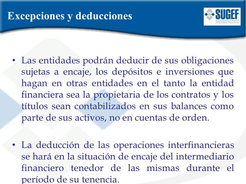 Excepciones y deducciones Las entidades podrán deducir de sus obligaciones sujetas a encaje, los depósitos e inversiones que hagan en otras entidades
