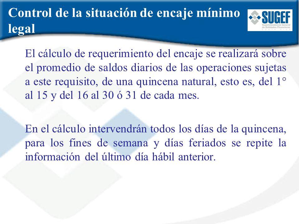El cálculo de requerimiento del encaje se realizará sobre el promedio de saldos diarios de las operaciones sujetas a este requisito, de una quincena n