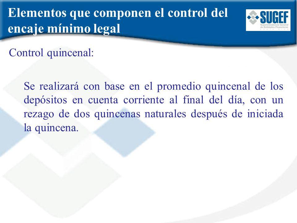 Elementos que componen el control del encaje mínimo legal Control quincenal: Se realizará con base en el promedio quincenal de los depósitos en cuenta