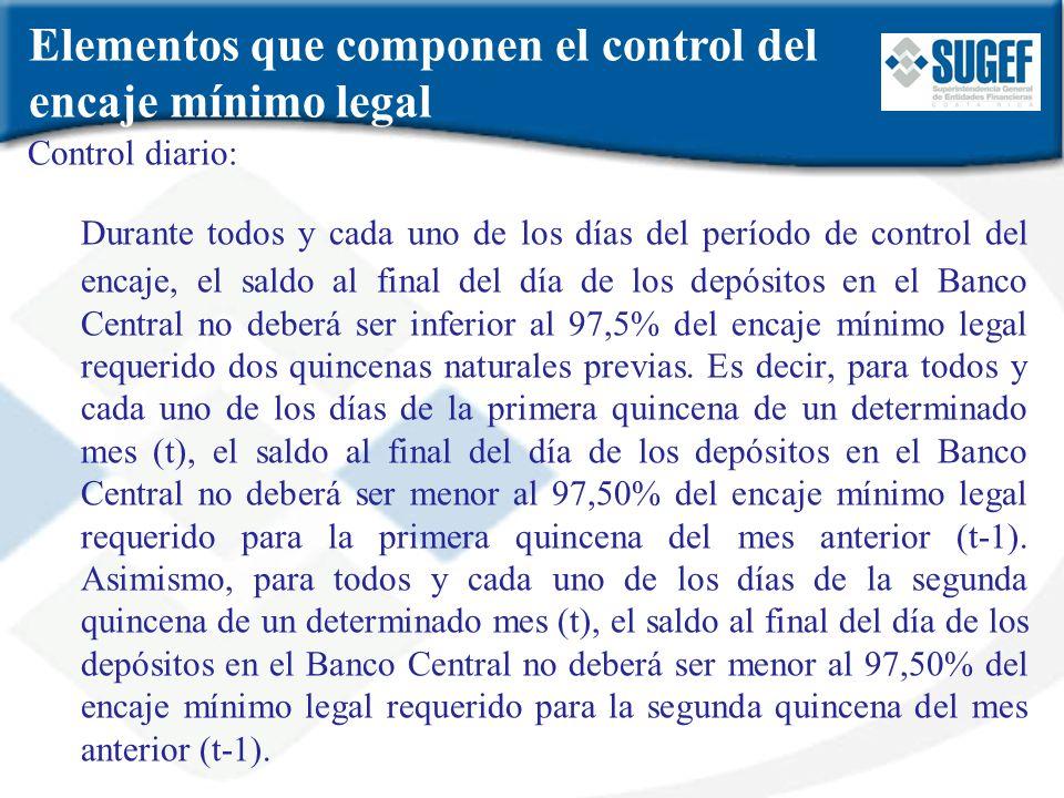 Control diario: Durante todos y cada uno de los días del período de control del encaje, el saldo al final del día de los depósitos en el Banco Central