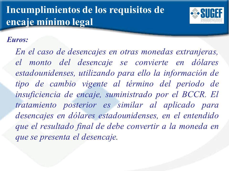 Incumplimientos de los requisitos de encaje mínimo legal Euros: En el caso de desencajes en otras monedas extranjeras, el monto del desencaje se convi