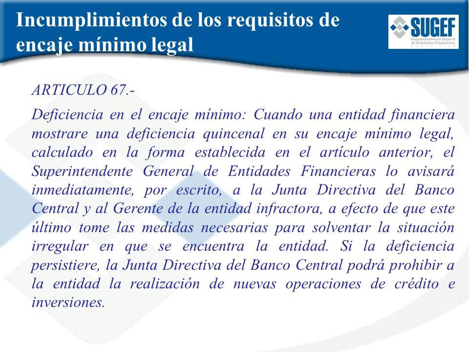 Incumplimientos de los requisitos de encaje mínimo legal ARTICULO 67.- Deficiencia en el encaje mínimo: Cuando una entidad financiera mostrare una def