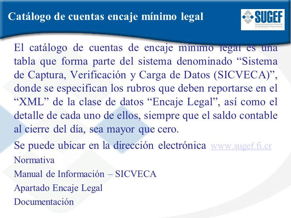 Catálogo de cuentas encaje mínimo legal El catálogo de cuentas de encaje mínimo legal es una tabla que forma parte del sistema denominado Sistema de C