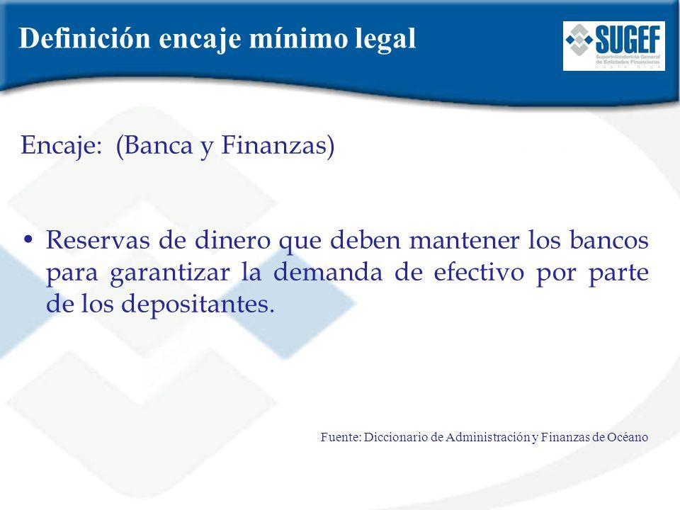 Artículo 62 (Ley 7558 Ley Orgánica del Banco Central de Costa Rica) Las instituciones financieras supervisadas por la SUGEF, estarán obligadas a mantener en el Banco Central, en forma de depósitos en cuentas corriente, una reserva proporcional al monto total de sus depósitos y captaciones, que constituirá el encaje mínimo legal.