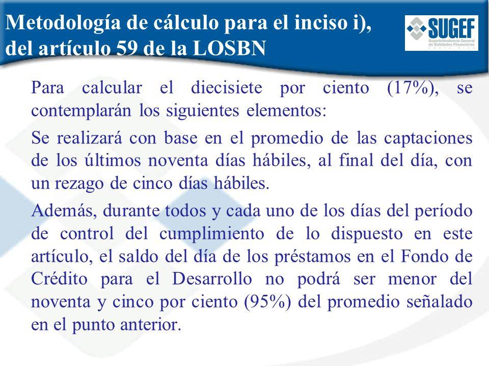 Metodología de cálculo para el inciso i), del artículo 59 de la LOSBN Para calcular el diecisiete por ciento (17%), se contemplarán los siguientes ele