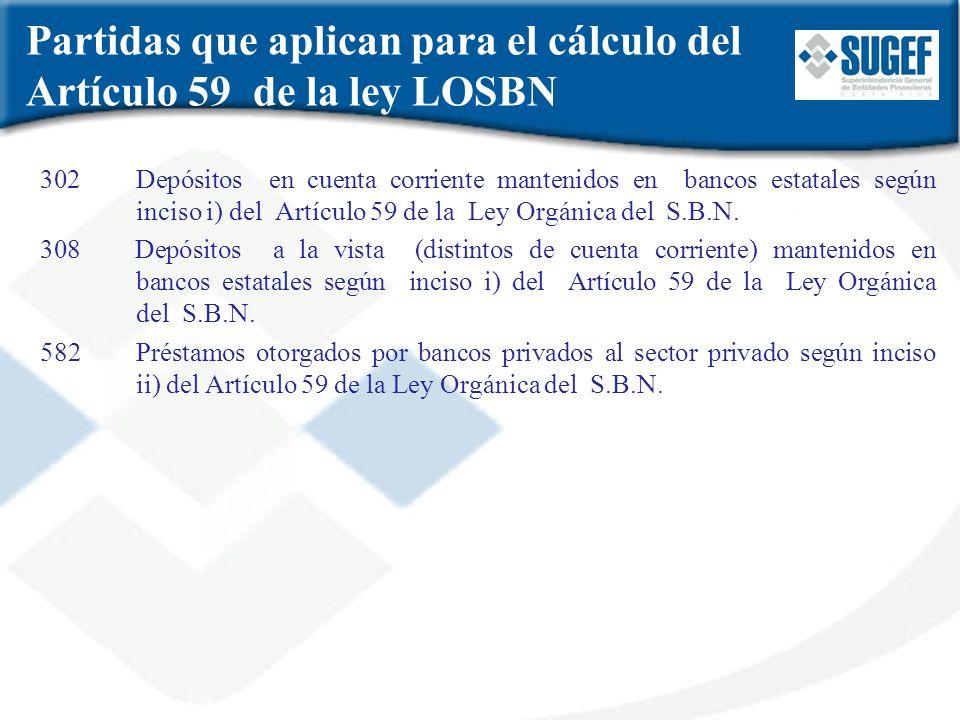Partidas que aplican para el cálculo del Artículo 59 de la ley LOSBN 302 Depósitos en cuenta corriente mantenidos en bancos estatales según inciso i)