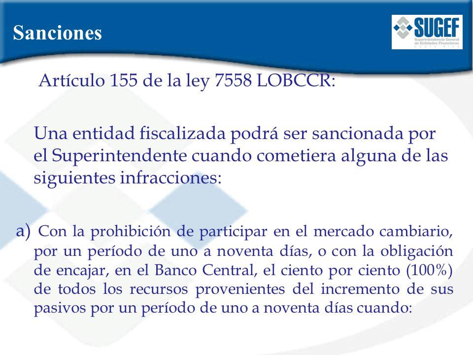 Artículo 155 de la ley 7558 LOBCCR: Una entidad fiscalizada podrá ser sancionada por el Superintendente cuando cometiera alguna de las siguientes infr