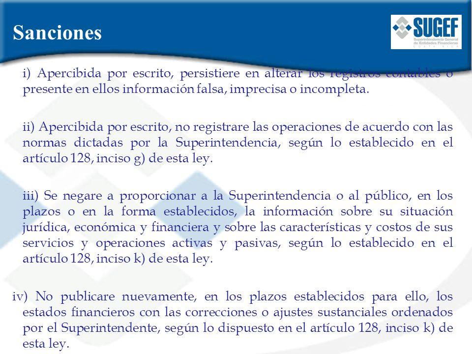 i) Apercibida por escrito, persistiere en alterar los registros contables o presente en ellos información falsa, imprecisa o incompleta. ii) Apercibid