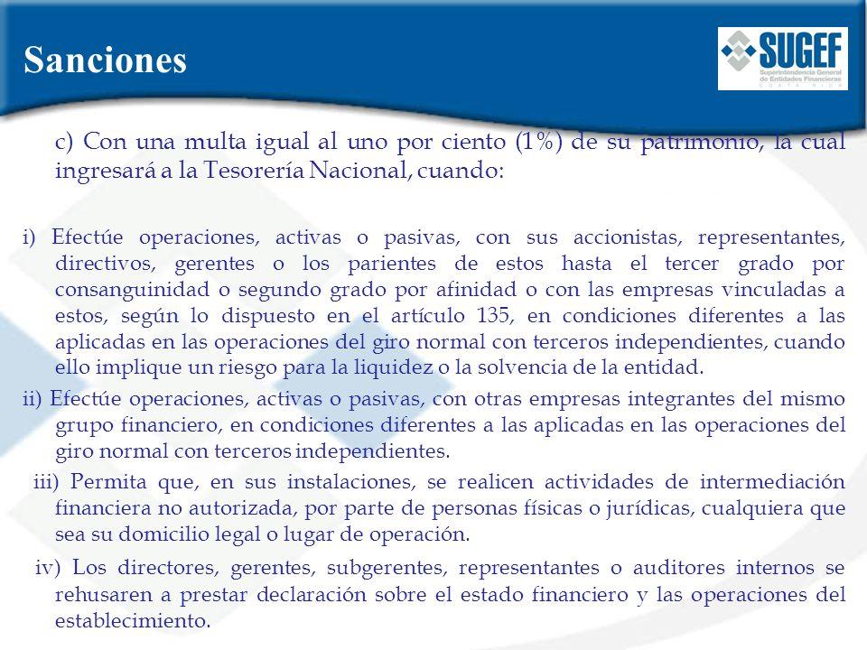 c) Con una multa igual al uno por ciento (1%) de su patrimonio, la cual ingresará a la Tesorería Nacional, cuando: i) Efectúe operaciones, activas o p