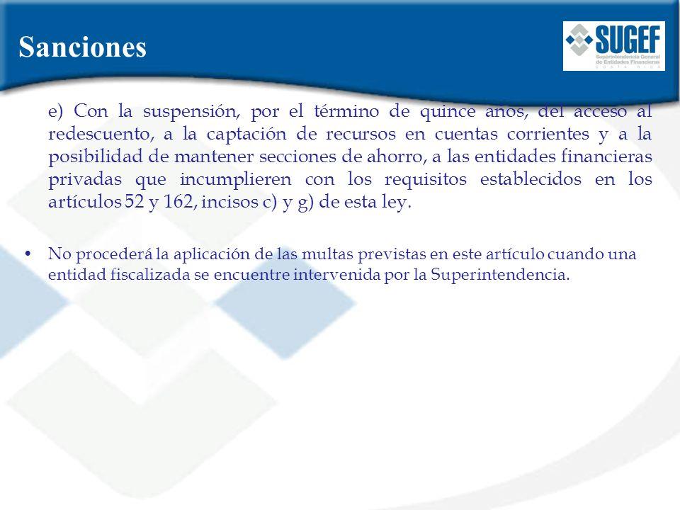 e) Con la suspensión, por el término de quince años, del acceso al redescuento, a la captación de recursos en cuentas corrientes y a la posibilidad de