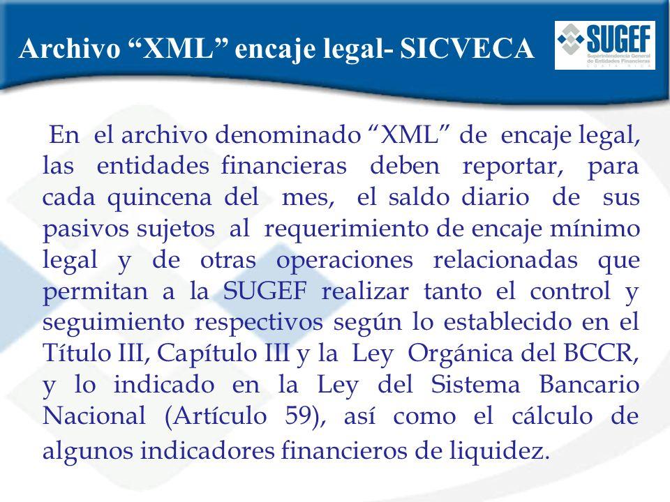 Archivo XML encaje legal- SICVECA En el archivo denominado XML de encaje legal, las entidades financieras deben reportar, para cada quincena del mes,