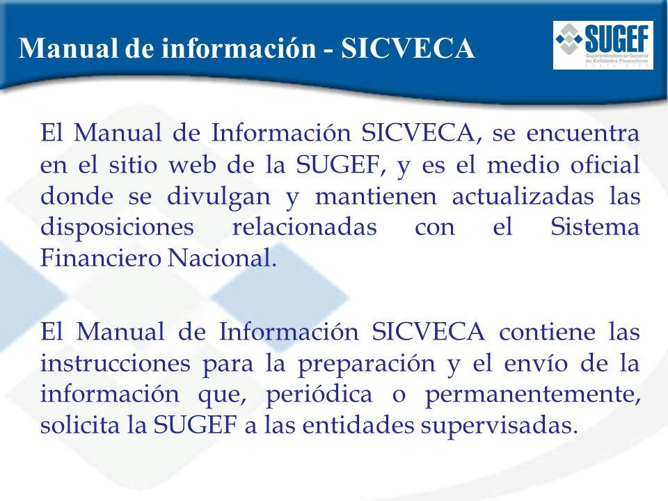 Manual de información - SICVECA El Manual de Información SICVECA, se encuentra en el sitio web de la SUGEF, y es el medio oficial donde se divulgan y