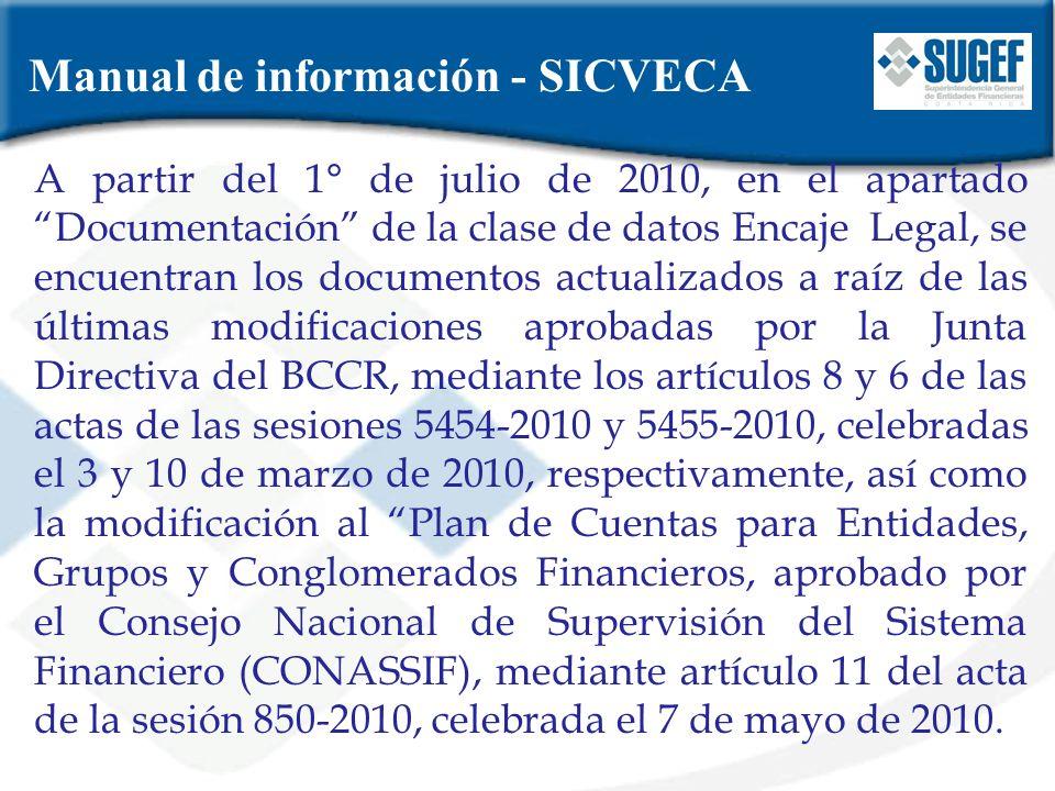Manual de información - SICVECA A partir del 1° de julio de 2010, en el apartado Documentación de la clase de datos Encaje Legal, se encuentran los do