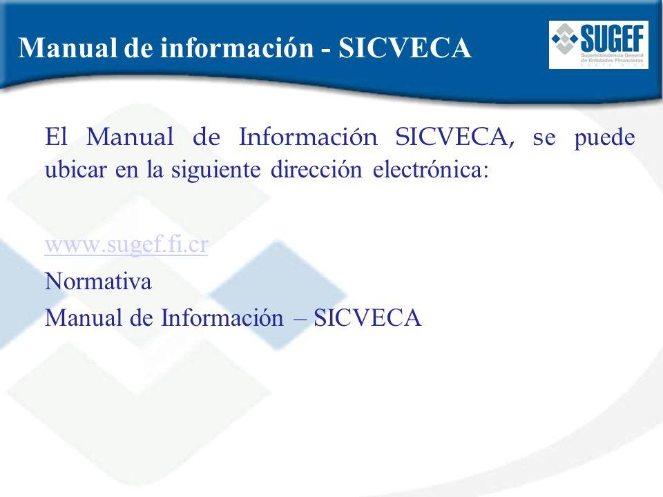 Manual de información - SICVECA El Manual de Información SICVECA, s e puede ubicar en la siguiente dirección electrónica: www.sugef.fi.cr Normativa Ma
