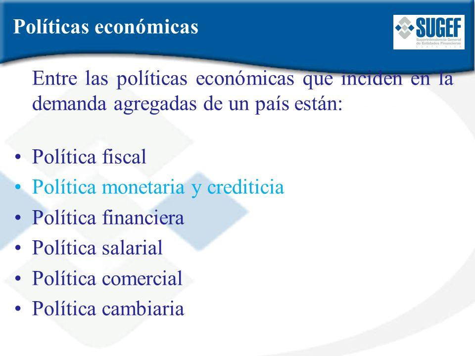 Entre las políticas económicas que inciden en la demanda agregadas de un país están: Política fiscal Política monetaria y crediticia Política financie