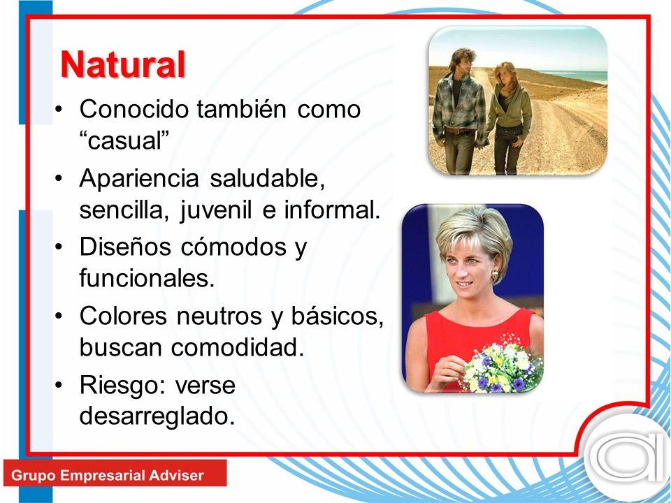 Natural Conocido también como casual Apariencia saludable, sencilla, juvenil e informal. Diseños cómodos y funcionales. Colores neutros y básicos, bus
