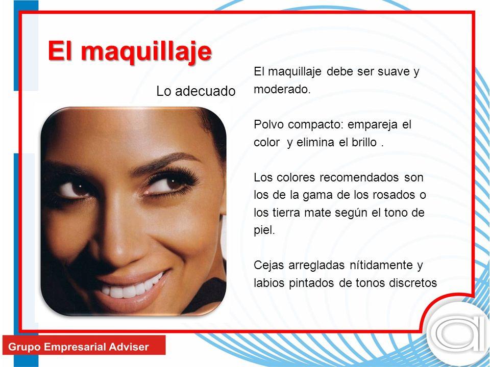 . El maquillaje debe ser suave y moderado. Polvo compacto: empareja el color y elimina el brillo. Los colores recomendados son los de la gama de los r