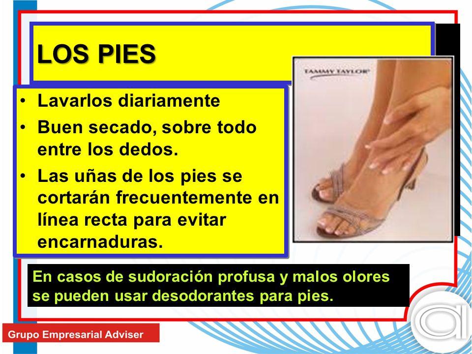 LOS PIES Lavarlos diariamente Buen secado, sobre todo entre los dedos. Las uñas de los pies se cortarán frecuentemente en línea recta para evitar enca