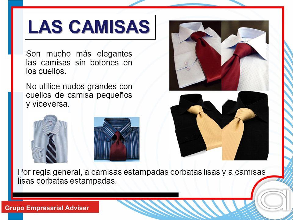 LAS CAMISAS Son mucho más elegantes las camisas sin botones en los cuellos. No utilice nudos grandes con cuellos de camisa pequeños y viceversa. Por r