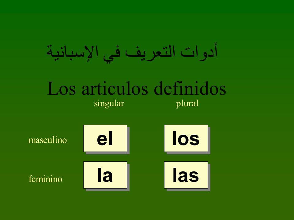 أدوات التعريف في الإسبانية Los articulos definidos singularplural masculino feminino el la los las