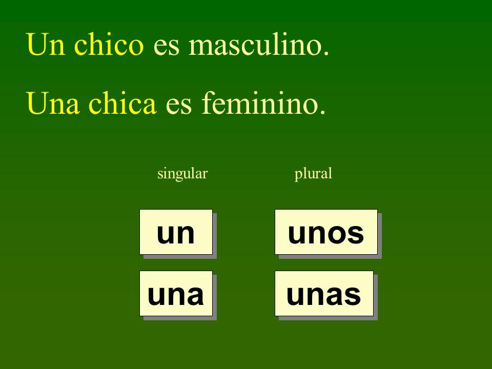 singularplural un una unos unas Un chico es masculino. Una chica es feminino.