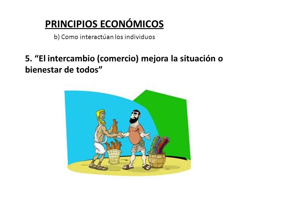 PRINCIPIOS ECONÓMICOS 5. El intercambio (comercio) mejora la situación o bienestar de todos b) Como interactúan los individuos