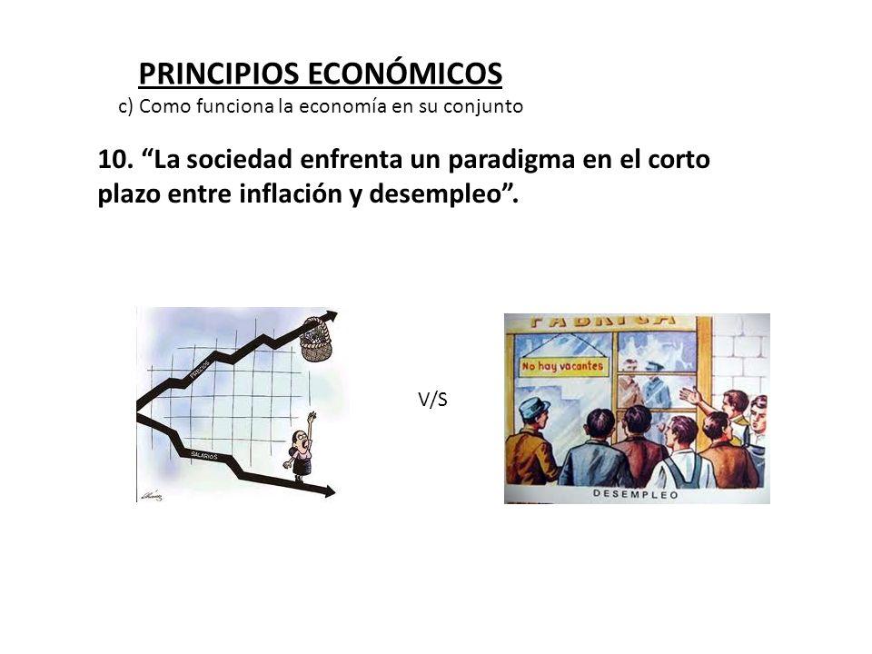 PRINCIPIOS ECONÓMICOS 10. La sociedad enfrenta un paradigma en el corto plazo entre inflación y desempleo. V/S c) Como funciona la economía en su conj