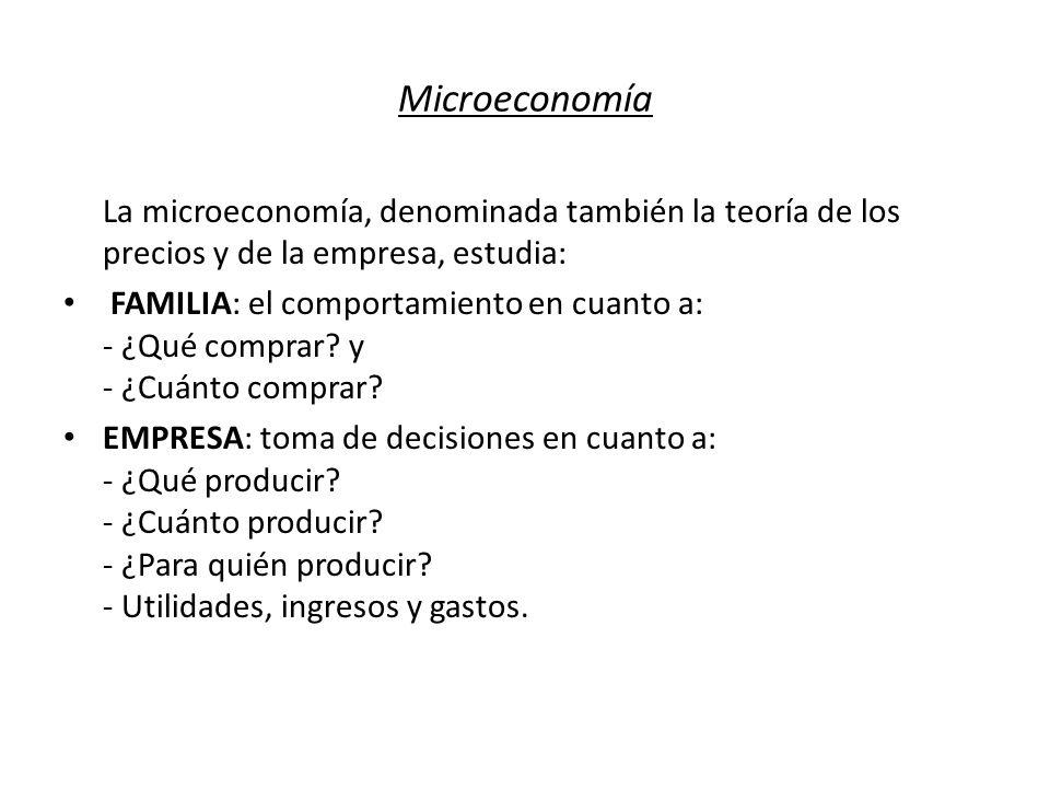 Microeconomía La microeconomía, denominada también la teoría de los precios y de la empresa, estudia: FAMILIA: el comportamiento en cuanto a: - ¿Qué c