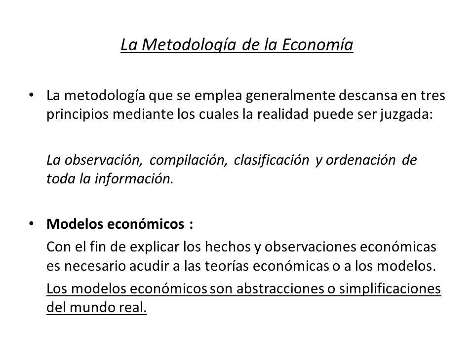 La Metodología de la Economía La metodología que se emplea generalmente descansa en tres principios mediante los cuales la realidad puede ser juzgada: