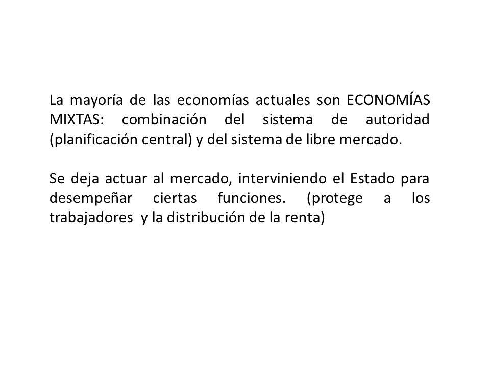 La mayoría de las economías actuales son ECONOMÍAS MIXTAS: combinación del sistema de autoridad (planificación central) y del sistema de libre mercado