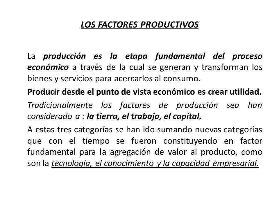LOS FACTORES PRODUCTIVOS La producción es la etapa fundamental del proceso económico a través de la cual se generan y transforman los bienes y servici