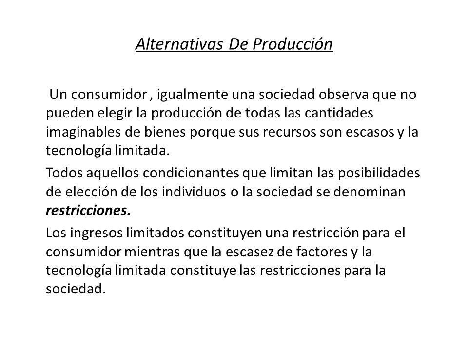 Alternativas De Producción Un consumidor, igualmente una sociedad observa que no pueden elegir la producción de todas las cantidades imaginables de bi