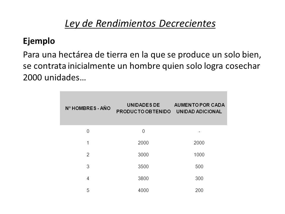 Ley de Rendimientos Decrecientes Nº HOMBRES - AÑO UNIDADES DE PRODUCTO OBTENIDO AUMENTO POR CADA UNIDAD ADICIONAL 00- 12000 230001000 33500500 4380030