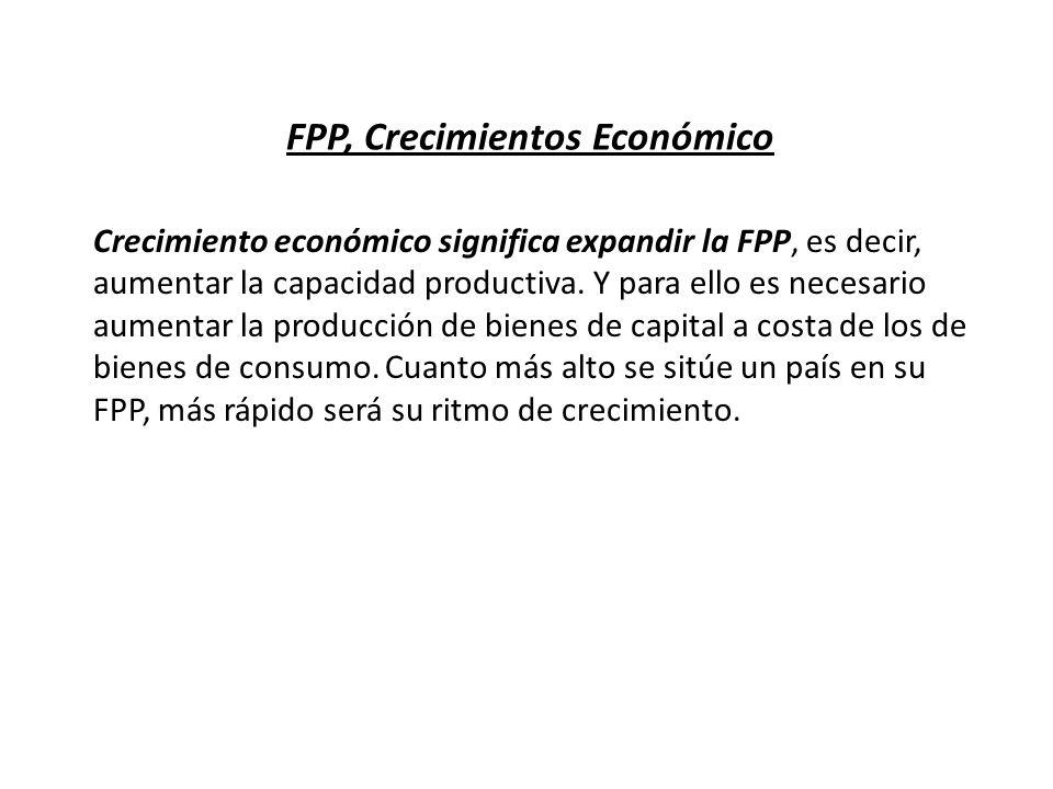 FPP, Crecimientos Económico Crecimiento económico significa expandir la FPP, es decir, aumentar la capacidad productiva. Y para ello es necesario aume
