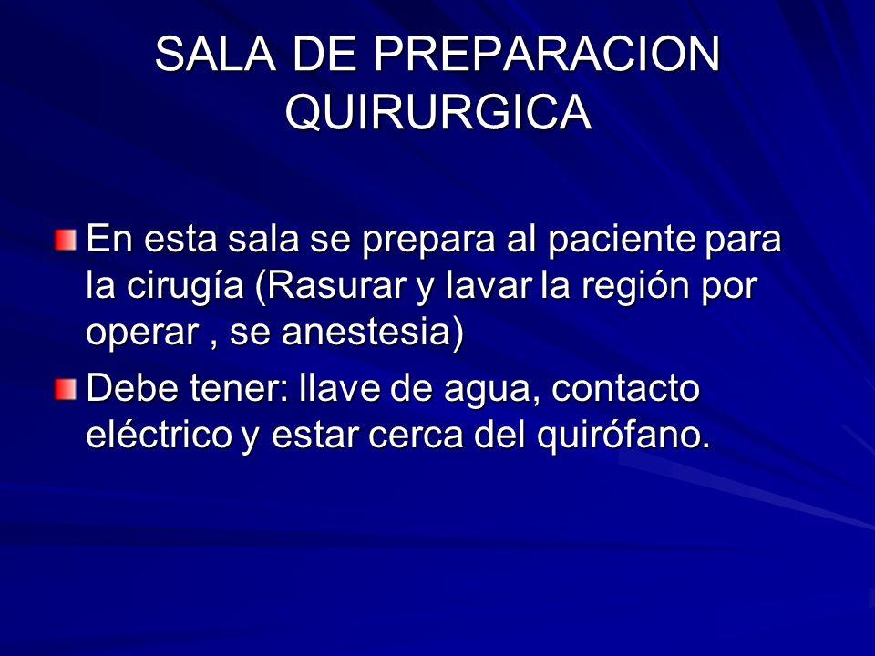 SALA DE PREPARACION QUIRURGICA En esta sala se prepara al paciente para la cirugía (Rasurar y lavar la región por operar, se anestesia) Debe tener: ll