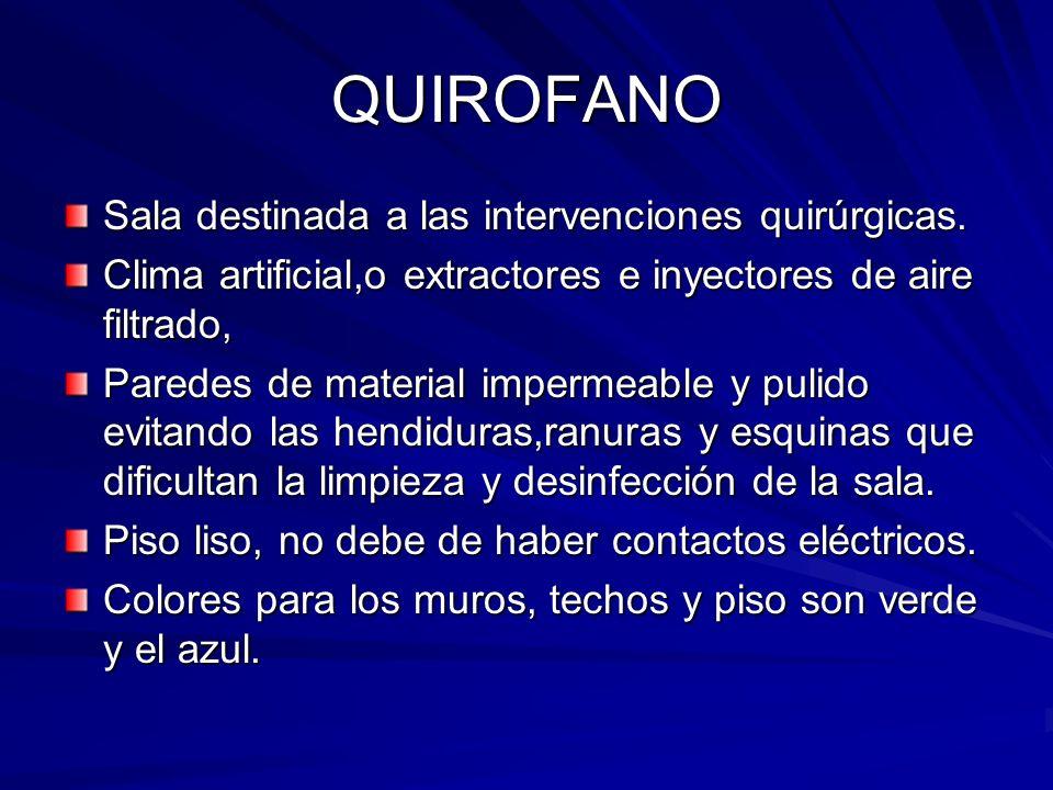 QUIROFANO Sala destinada a las intervenciones quirúrgicas. Clima artificial,o extractores e inyectores de aire filtrado, Paredes de material impermeab