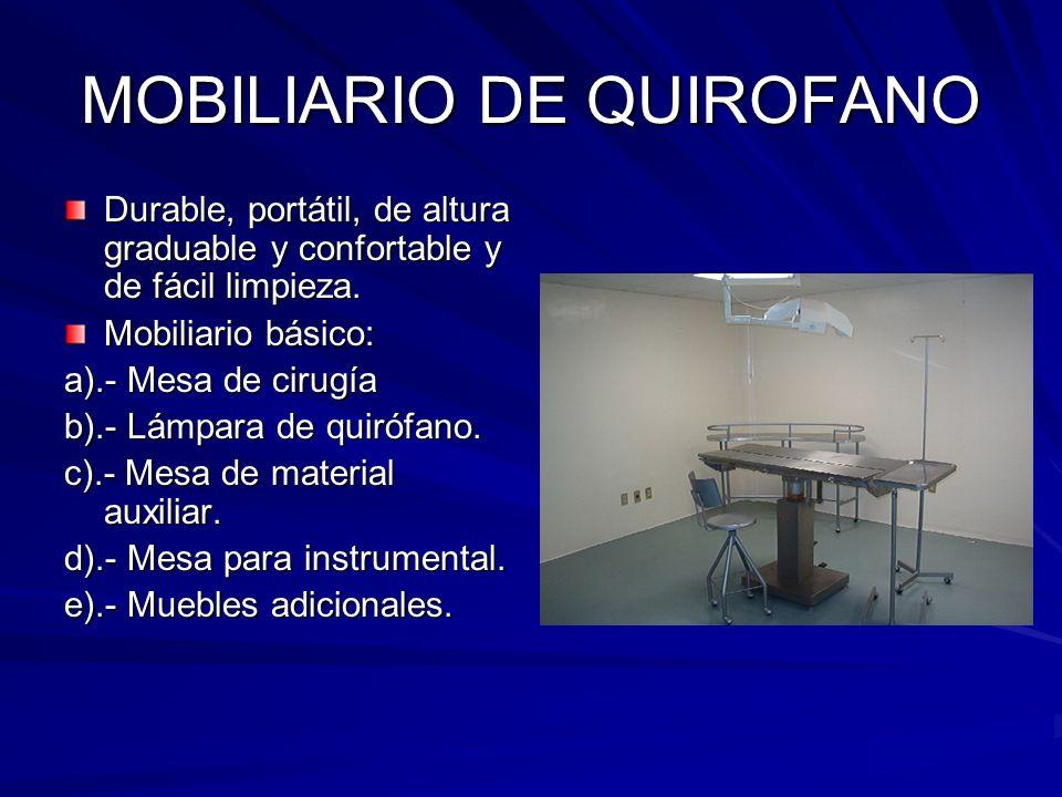 MOBILIARIO DE QUIROFANO Durable, portátil, de altura graduable y confortable y de fácil limpieza. Mobiliario básico: a).- Mesa de cirugía b).- Lámpara