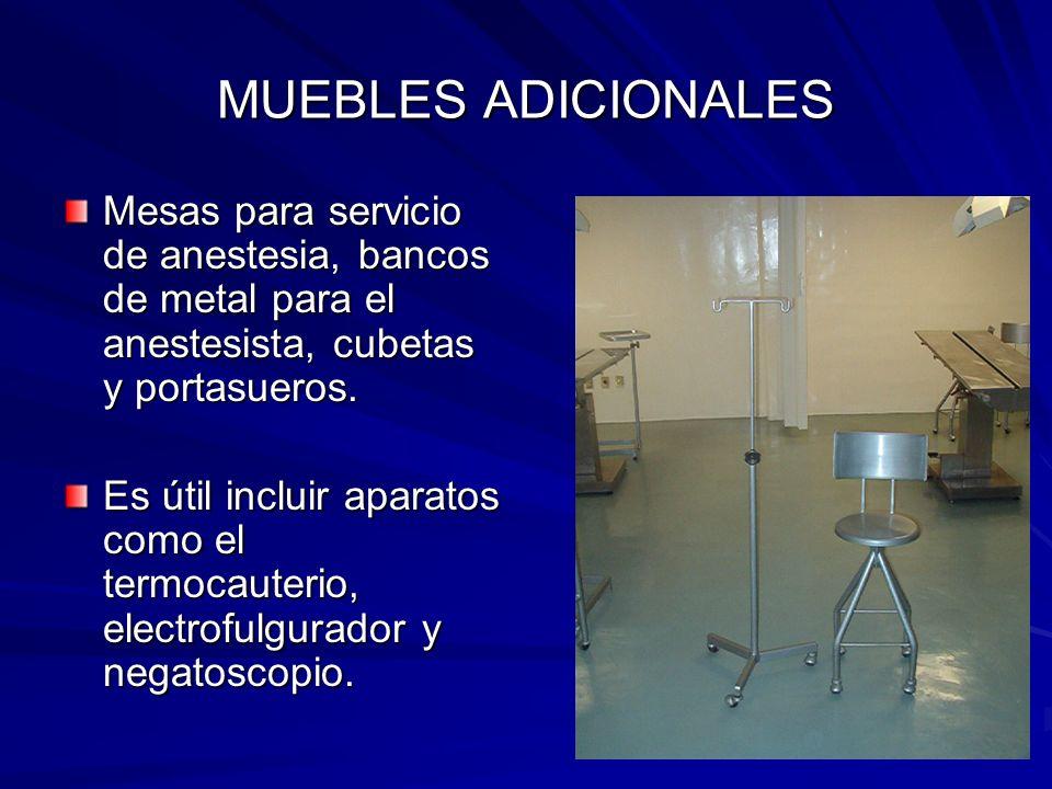 MUEBLES ADICIONALES Mesas para servicio de anestesia, bancos de metal para el anestesista, cubetas y portasueros. Es útil incluir aparatos como el ter