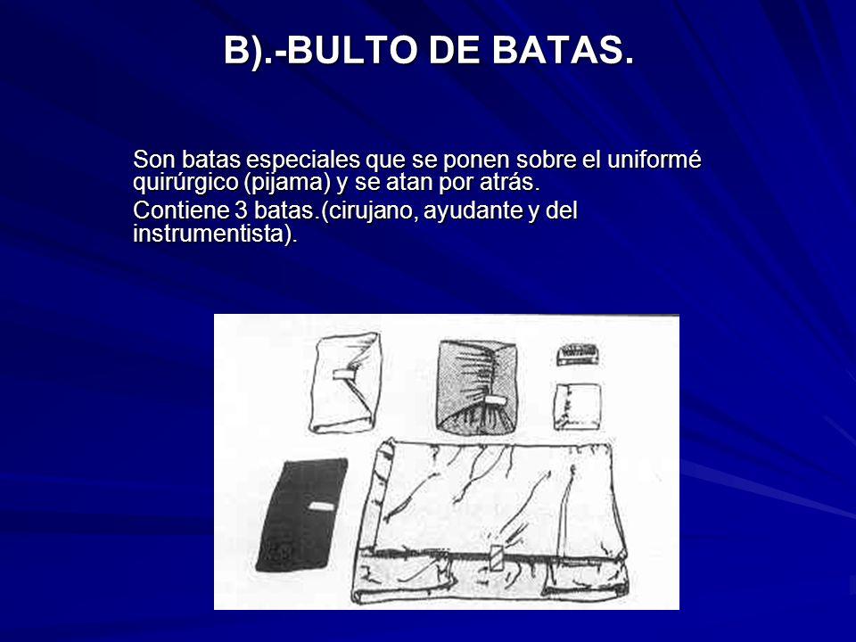 B).-BULTO DE BATAS. Son batas especiales que se ponen sobre el uniformé quirúrgico (pijama) y se atan por atrás. Contiene 3 batas.(cirujano, ayudante