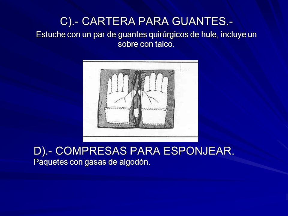 C).- CARTERA PARA GUANTES.- Estuche con un par de guantes quirúrgicos de hule, incluye un sobre con talco. D).- COMPRESAS PARA ESPONJEAR. Paquetes con