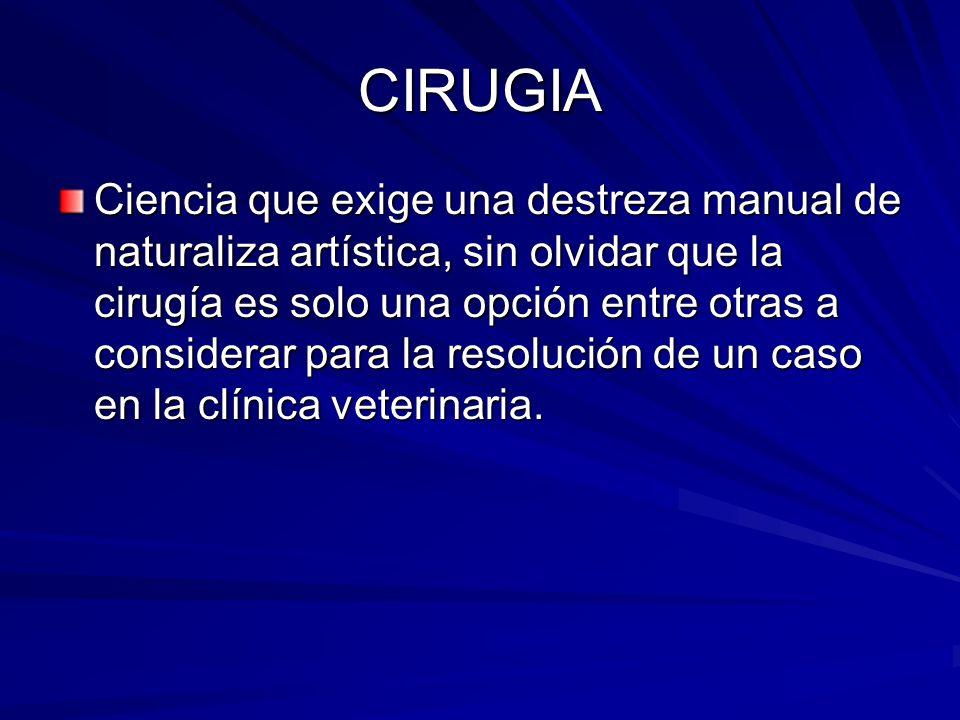 CIRUGIA El propósito de un cirujano debe ser el conocimiento perfecto de los principios de la medicina, su juiciosa aplicación y la destreza manual.