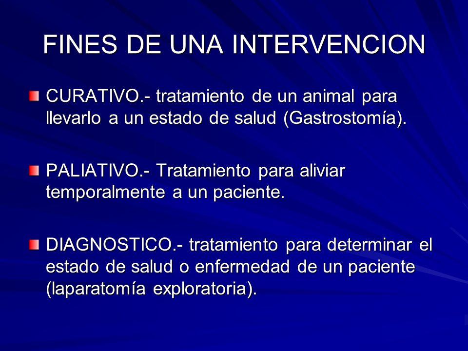 FINES DE UNA INTERVENCION CURATIVO.- tratamiento de un animal para llevarlo a un estado de salud (Gastrostomía). PALIATIVO.- Tratamiento para aliviar