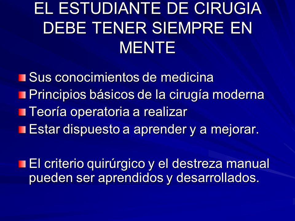 EL ESTUDIANTE DE CIRUGIA DEBE TENER SIEMPRE EN MENTE Sus conocimientos de medicina Principios básicos de la cirugía moderna Teoría operatoria a realiz