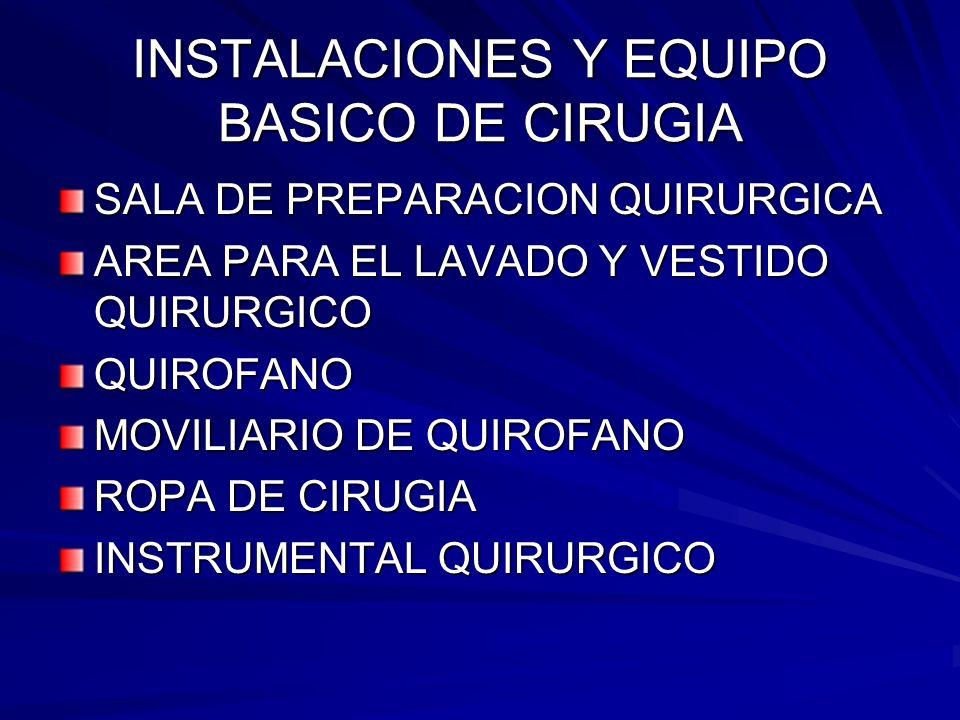 INSTALACIONES Y EQUIPO BASICO DE CIRUGIA SALA DE PREPARACION QUIRURGICA AREA PARA EL LAVADO Y VESTIDO QUIRURGICO QUIROFANO MOVILIARIO DE QUIROFANO ROP
