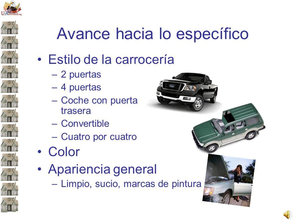 Avance hacia lo específico Estilo de la carrocería –2 puertas –4 puertas –Coche con puerta trasera –Convertible –Cuatro por cuatro Color Apariencia ge