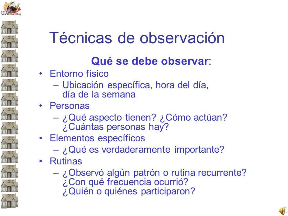 Técnicas de observación Qué se debe observar: Entorno físico –Ubicación específica, hora del día, día de la semana Personas –¿Qué aspecto tienen? ¿Cóm